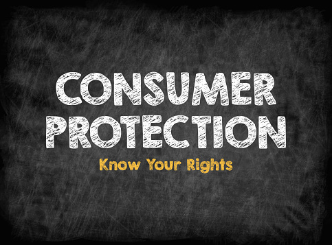 istock Consumer Rights Protection concept. Black board with texture, background 838029276