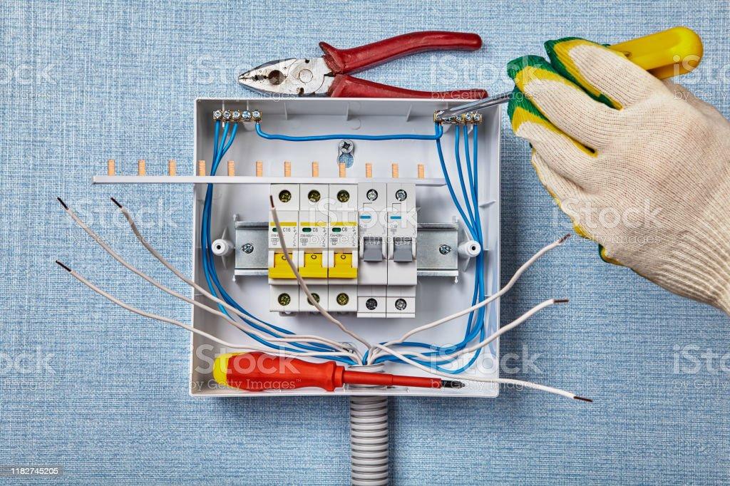 Consumer Unit Fuse Box Wiring Diagram Stock Photo - Download Image Now -  iStockiStock
