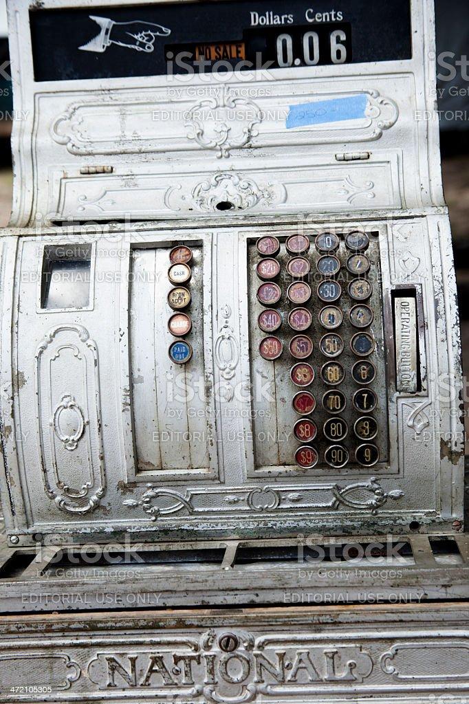 Consumerism:  'National' antique cash register. stock photo