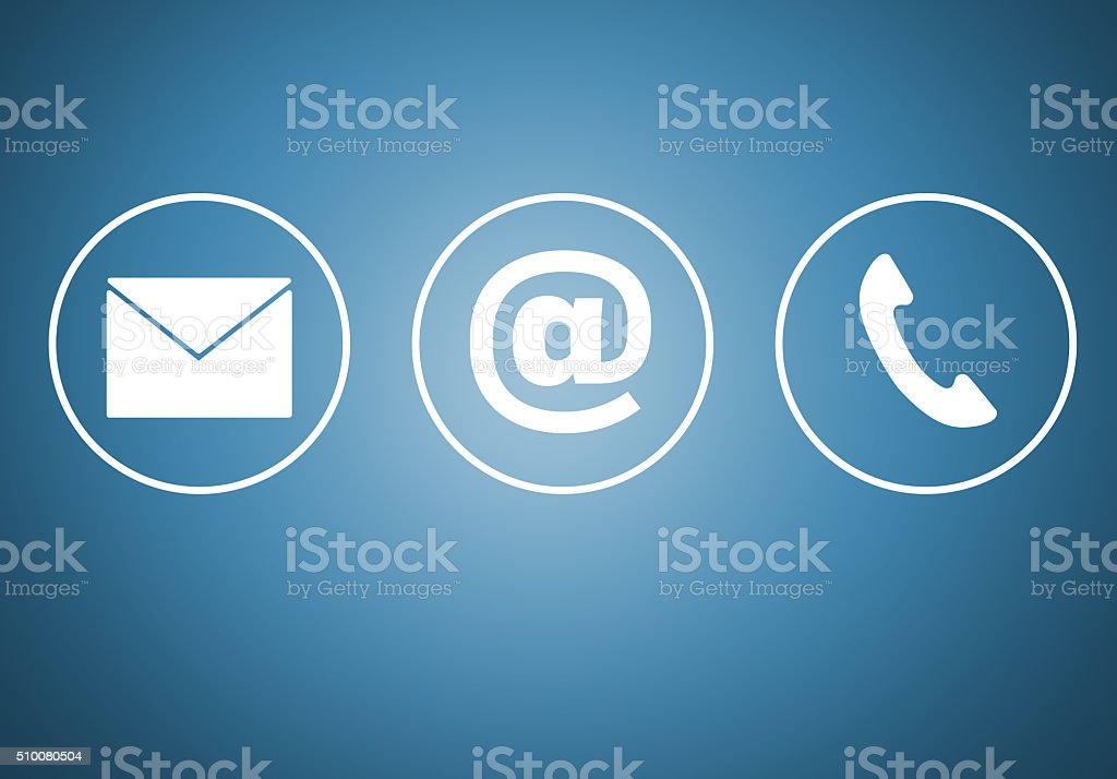 Contact icons e mail newsletter phone concept stock photo