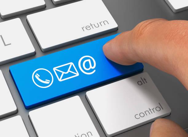 póngase en contacto con los iconos empujando teclado con ilustración 3d de dedo - física fotografías e imágenes de stock