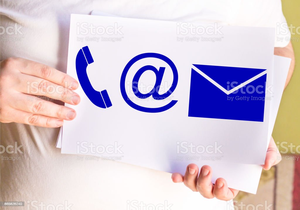 Contact Info Symbols, on white paper stock photo