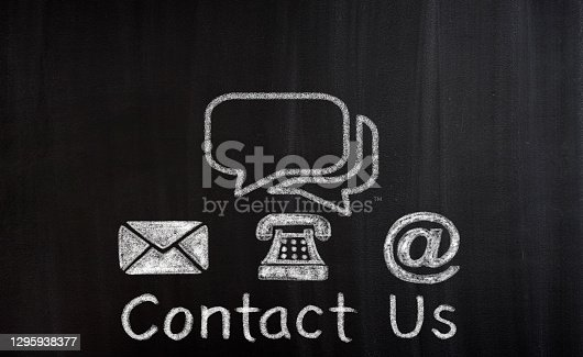 Contact Info Symbols on blackboard