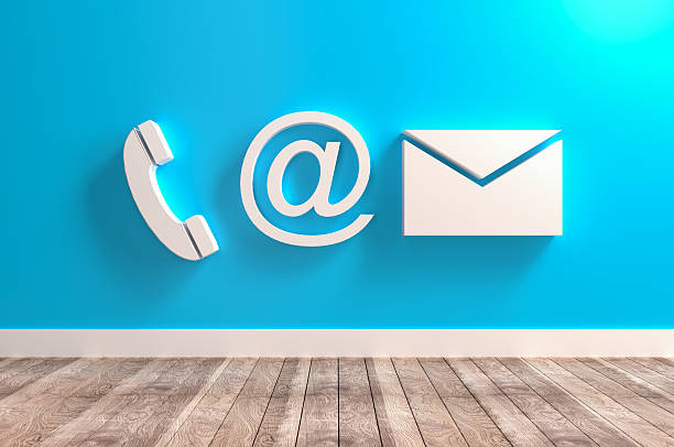 contact info symbols - comunication icon stock photos and pictures