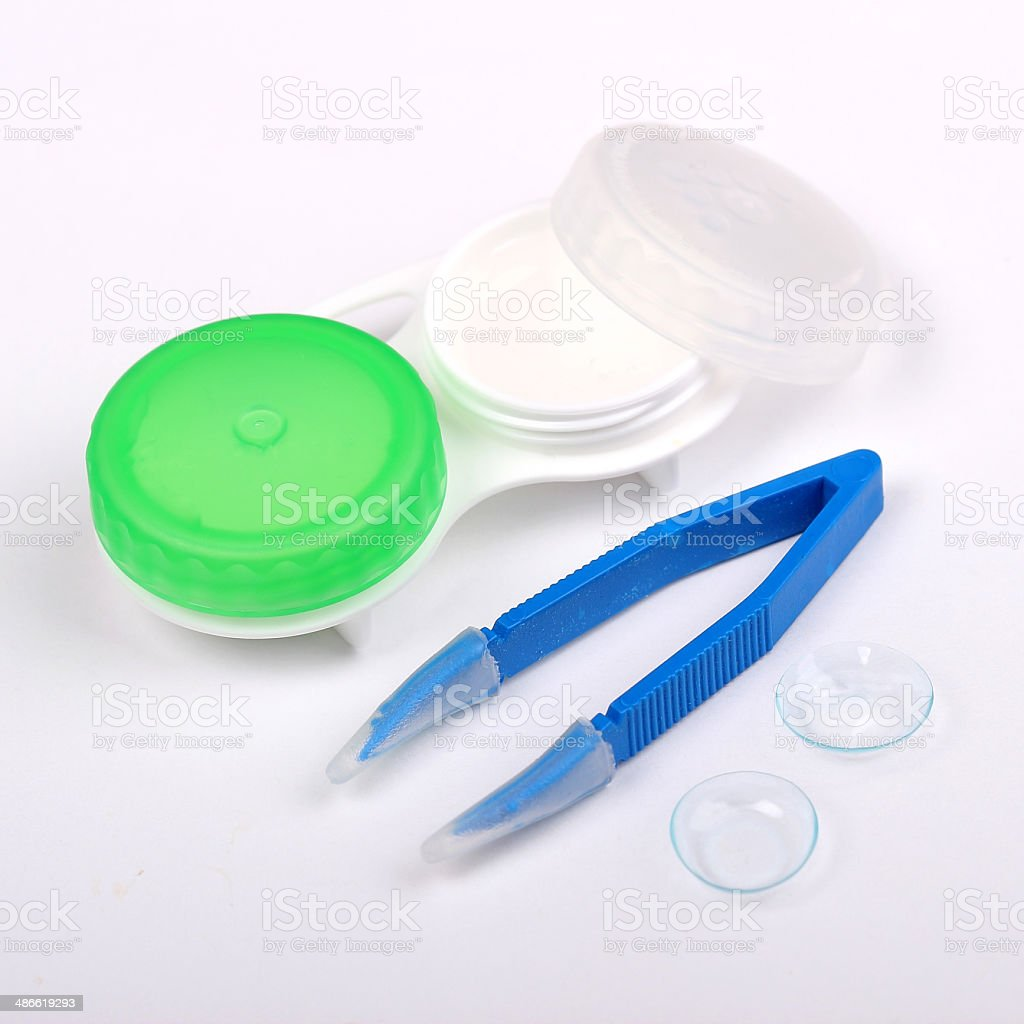 Contact lenses and equipment stock photo