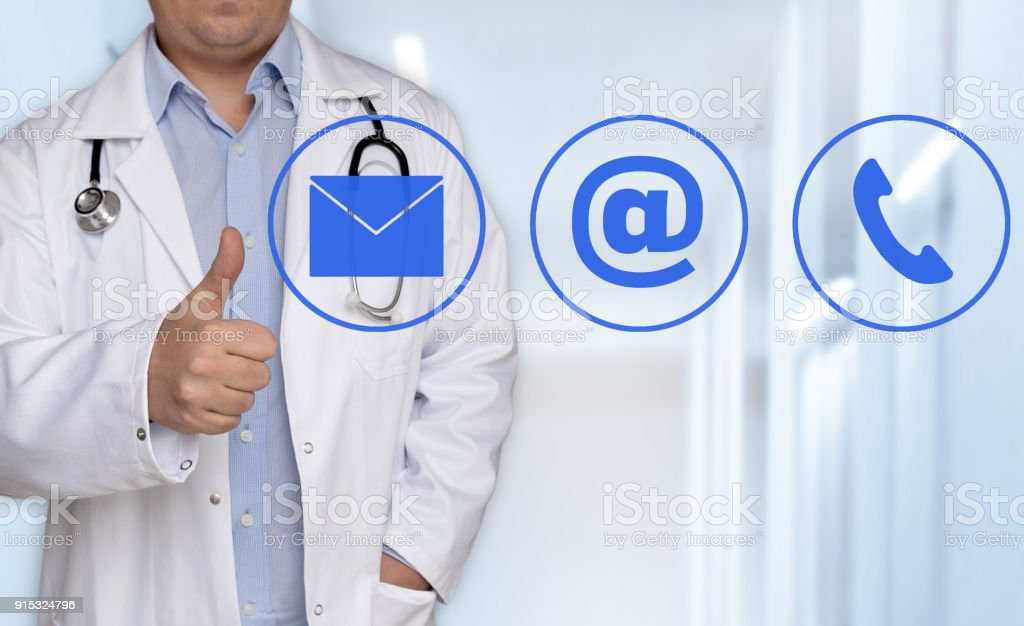 Contact options concept and doctor with thumbs up stock photo