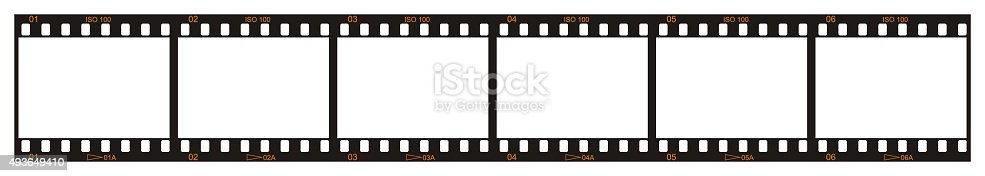 Six blank film frames. Each frame is numbered 1 through 6