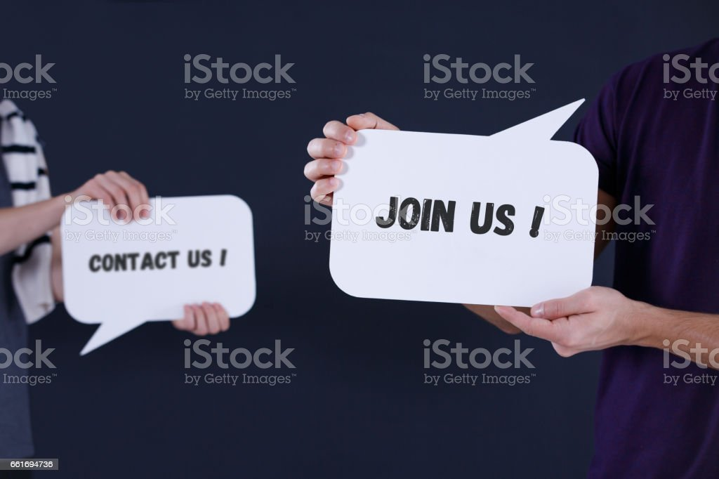 'Contact us' and 'Join us' speech bubbles stock photo