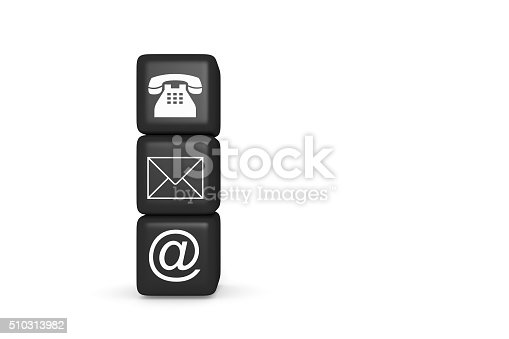 istock Contact us: black cubes on a white background 510313982