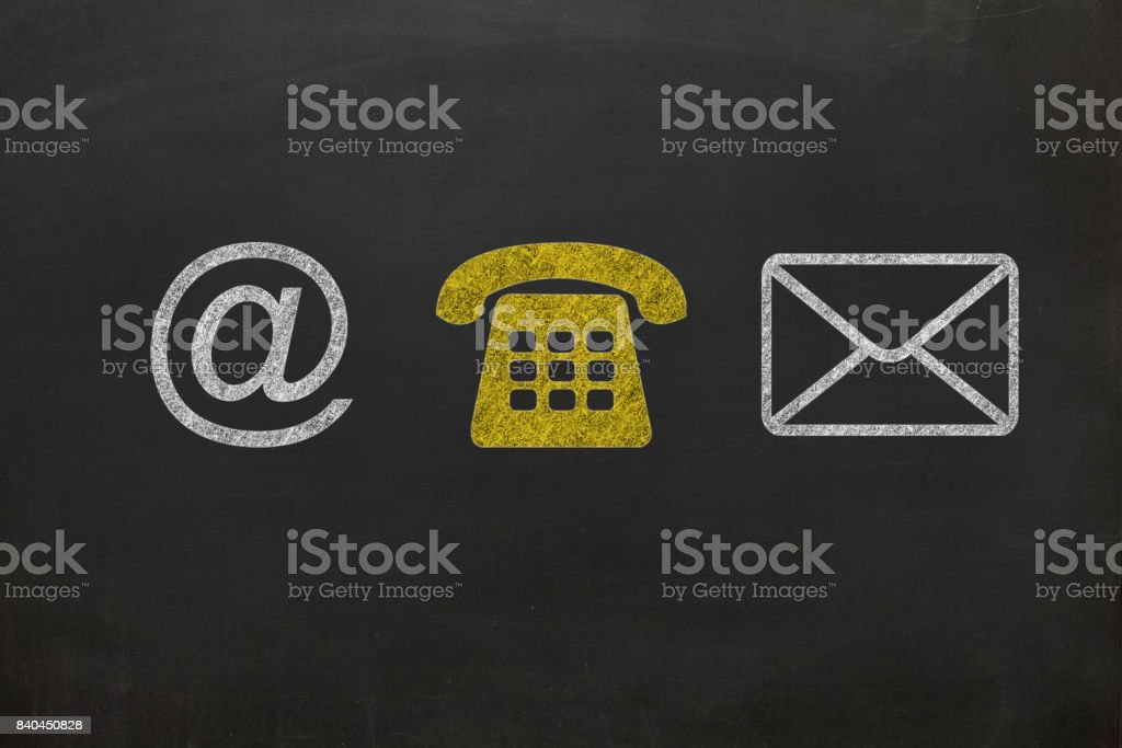 Contact us blackboard drawing concept stock photo
