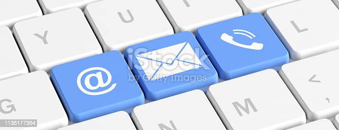 istock Contact us. Blue keys buttons with mail and phone signs on a computer keyboard, banner. 3d illustration 1135177354