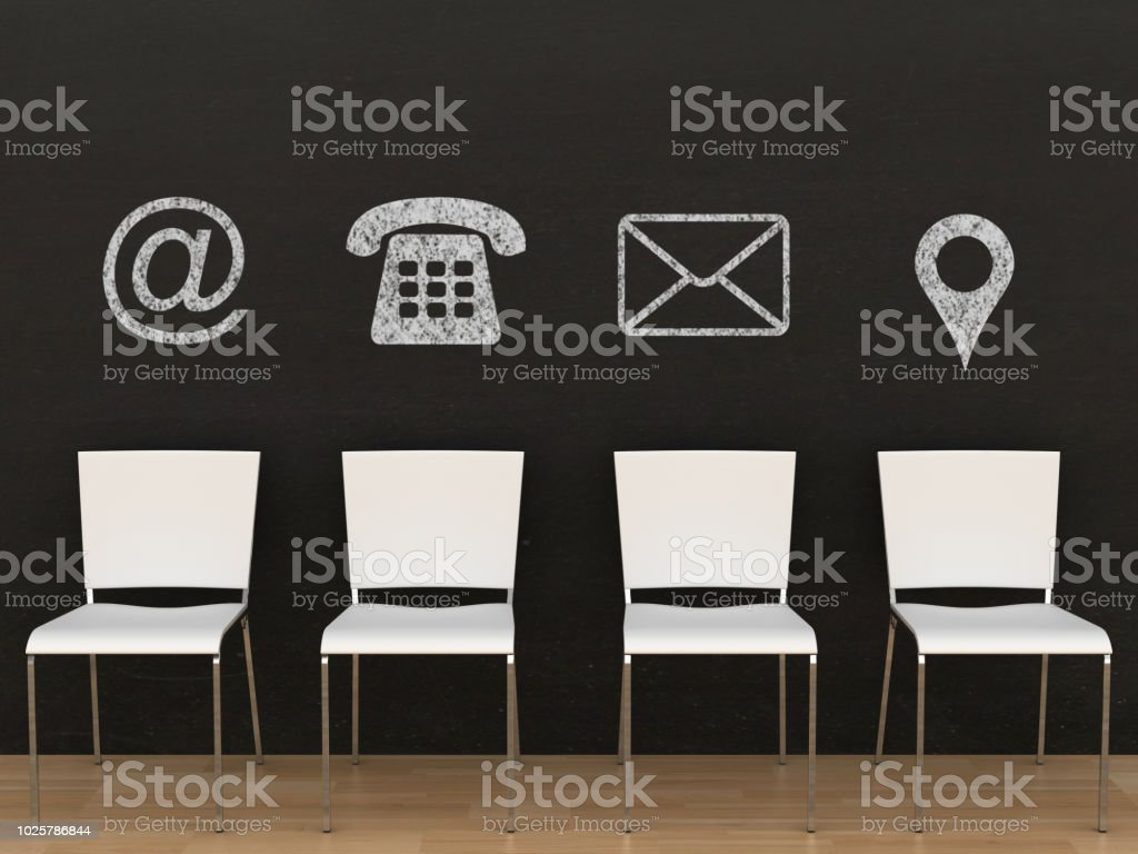 Contact us communication support blackboard drawing stock photo