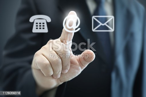 Contact us communication support businessman corporate business message