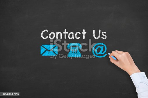 istock Contact Us Concept Drawing on Blackboard Texture 484014726