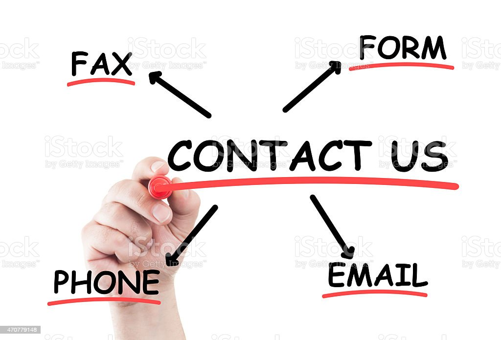 Contact us concept list stock photo