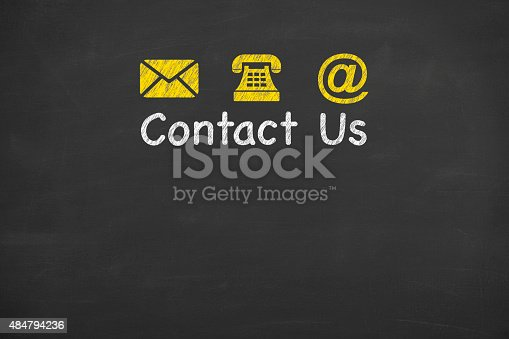 istock Contact Us Concept on Blackboard 484794236