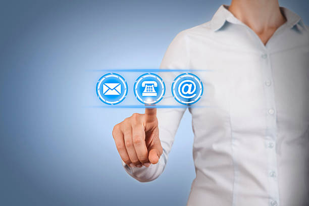 Contact Us Concept on Touch Screen stock photo