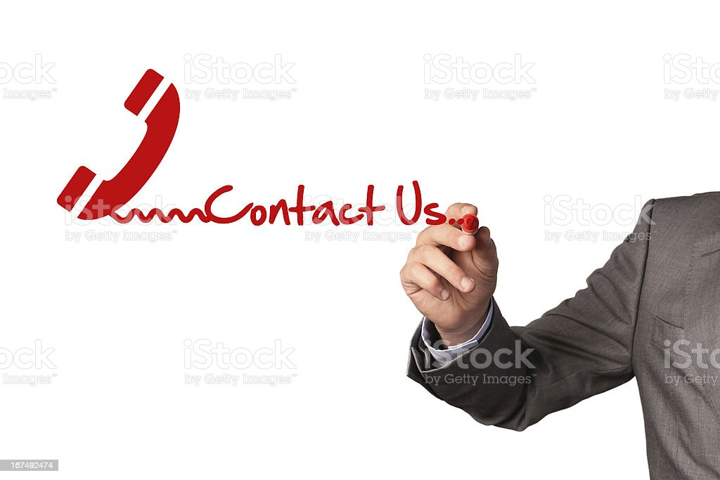 Contact Us Concept on Whiteboard royalty-free stock photo