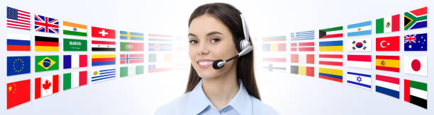 contact us, customer service operator woman with headset smiling isolated on international flags background contact us, customer service operator woman with headset smiling isolated on international flags background foreign affairs stock pictures, royalty-free photos & images