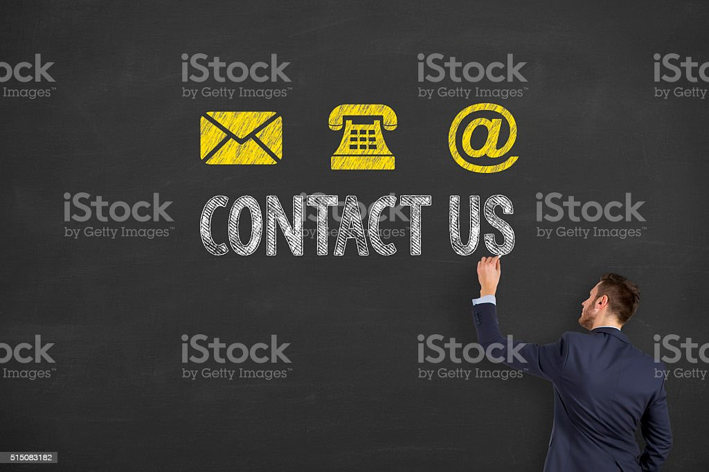 Contact Us on Blackboard stock photo