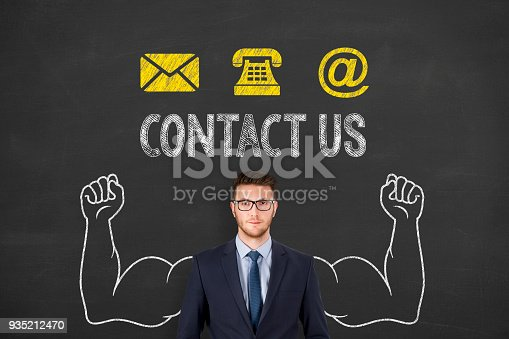 istock Contact Us on Chalkboard Background 935212470