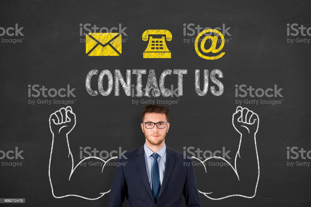 Contact Us on Chalkboard Background stock photo