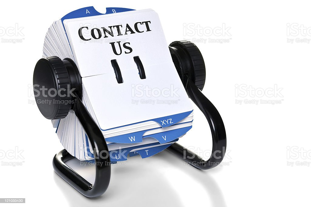 Contact Us on rotary card index stock photo