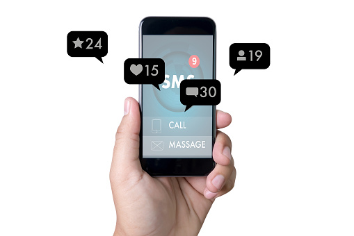 Contact Us Sms Media Man Use Smart Phone Social Media Network Pop Notification Icons Stock Photo - Download Image Now