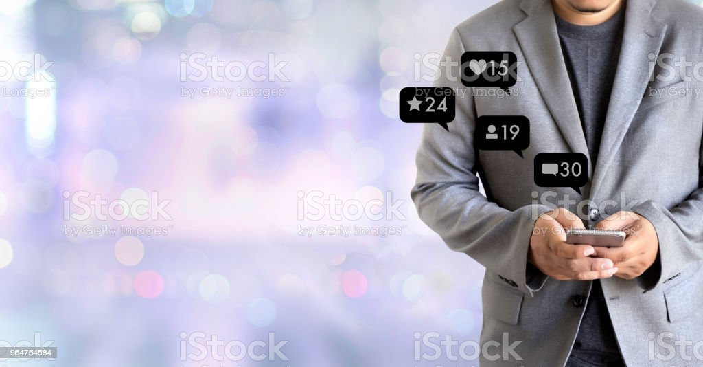 Contact us  sms media man use  smart phone social media network pop notification icons royalty-free stock photo