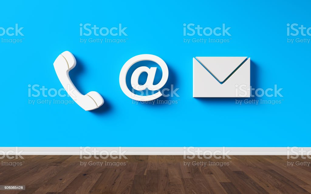 Contact Us Symbols On A Blue Wall Stock Photo More Pictures Of At