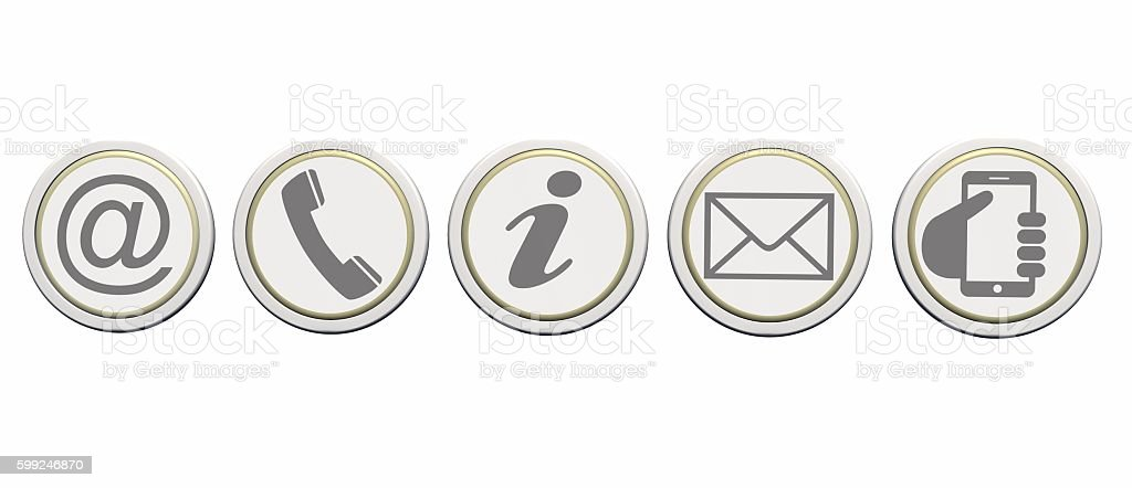 Contact us web buttons set, icons on round buttons stock photo