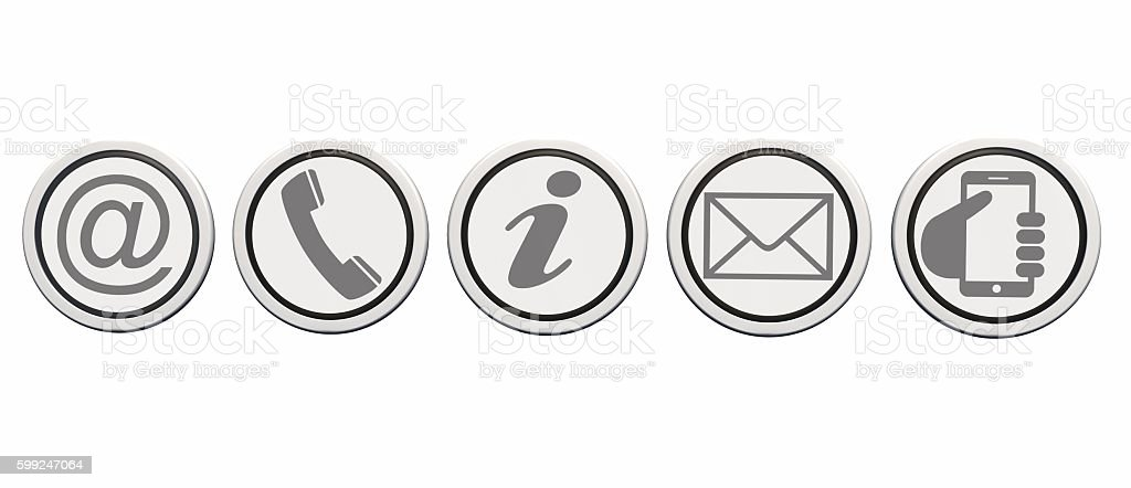 Contact us web buttons set, icons on round buttons – Foto