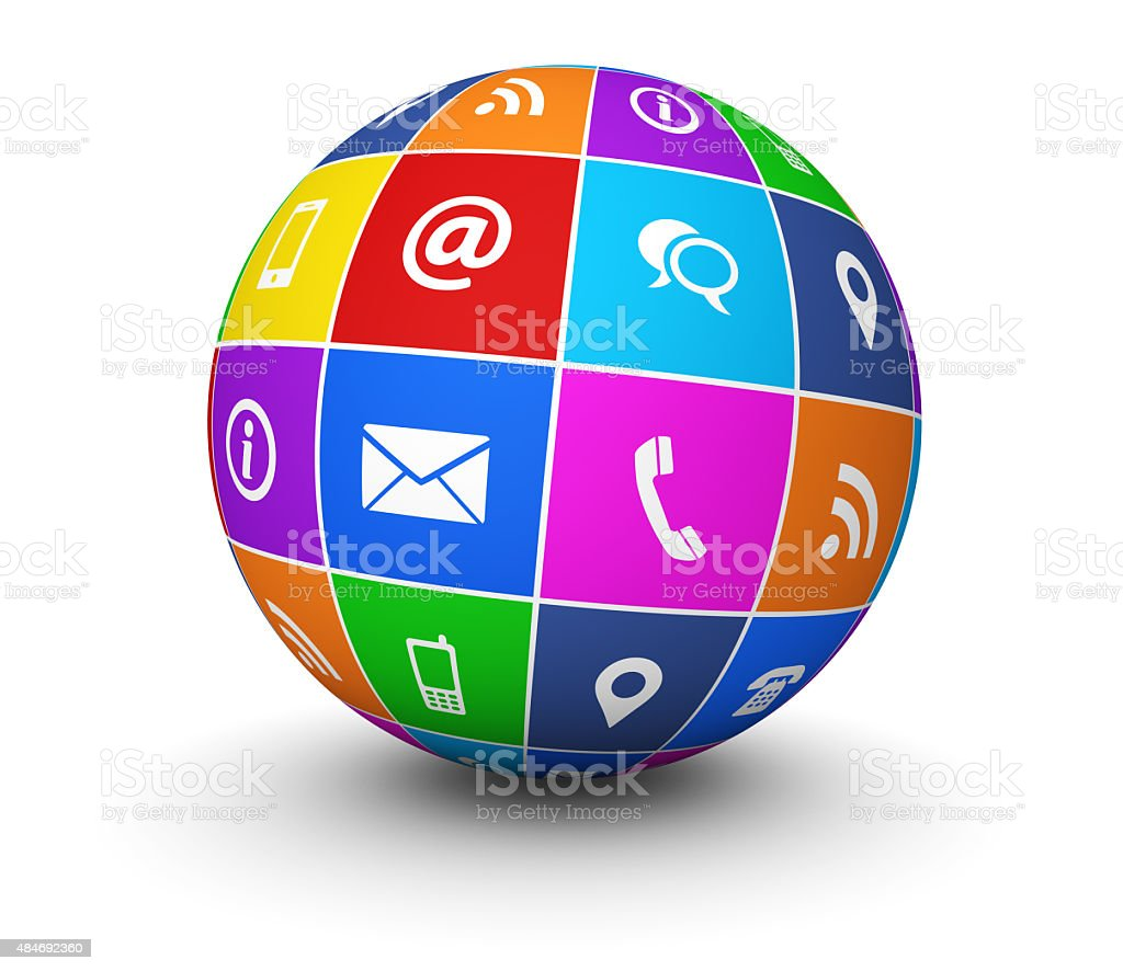 Contact Us Website Icons Globe stock photo