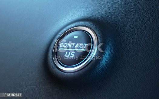 Contact us written car start button on dashboard. Horizontal composition with copy space. Low angle view.