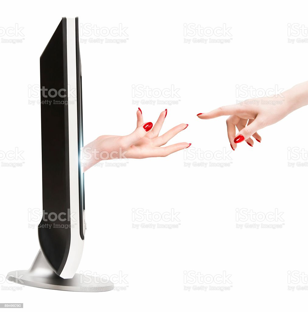 Contact with TV reality royalty-free stock photo