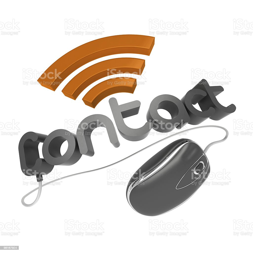 3D contact word with mouse royalty-free stock photo