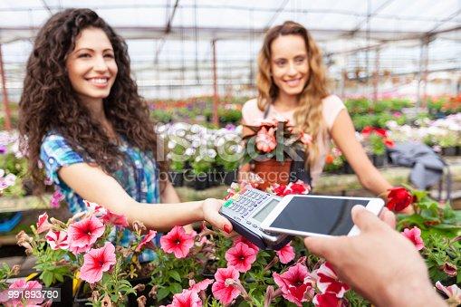 istock Contactless payment in garden center 991893780
