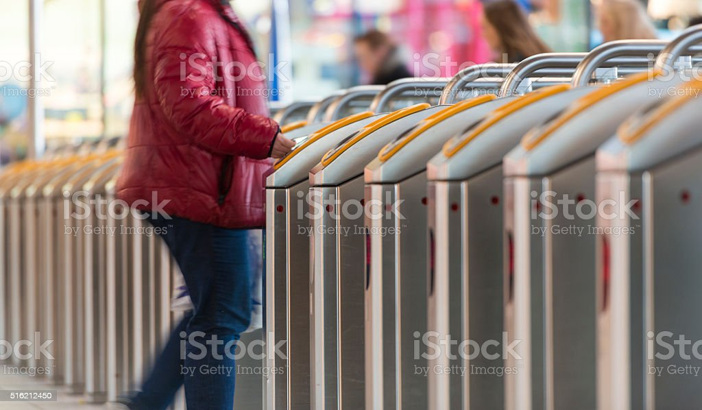 Contactless payment on public transport stock photo