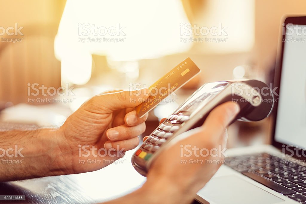 Contactless payment with credit card stock photo