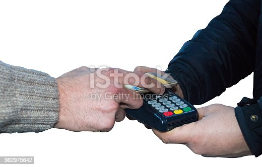 istock Contactless payment with digital wallet isolated on white background 962975642
