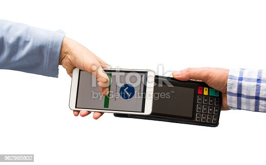 istock Contactless payment with mobile phone isolated on white background 962965802