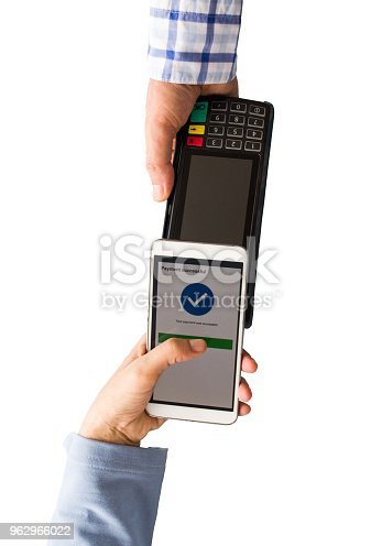 istock Contactless payment with smartphone isolated on white background 962966022