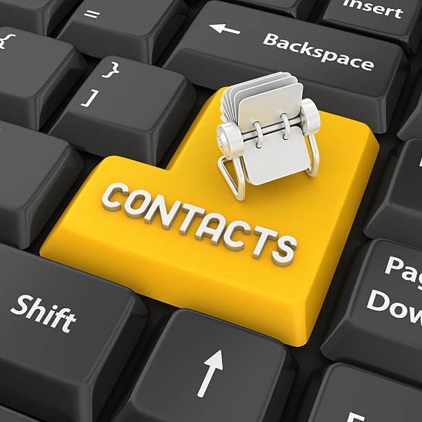 contacts enter key - address book stock photos and pictures