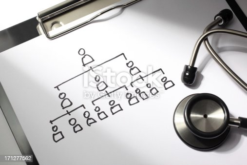 Healthcare concept. Chart of contagious disease drawn on a doctor's clipboard with stethoscope.
