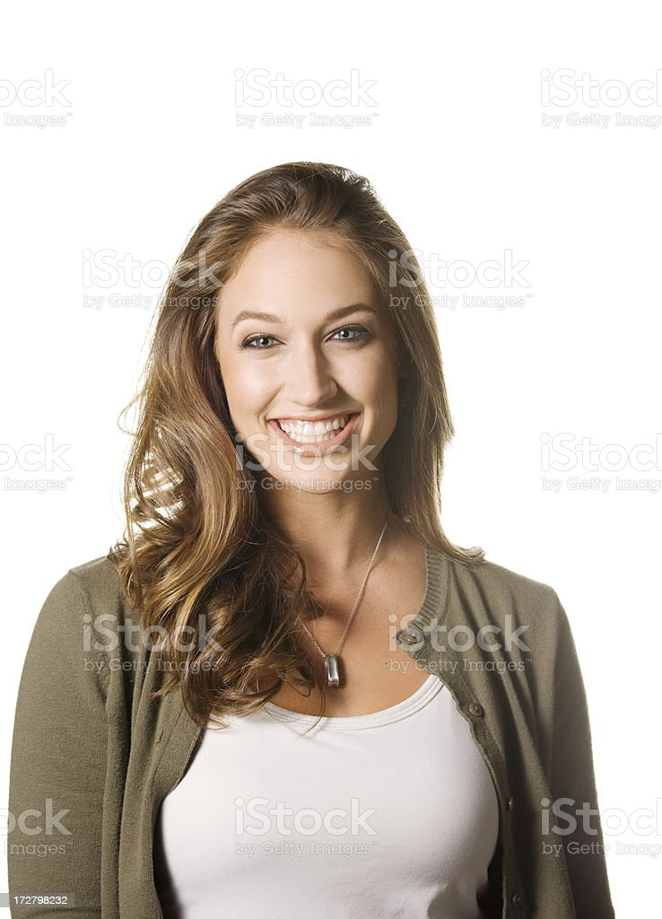 Contagious smile of a beautiful young woman, isolated on white royalty-free stock photo
