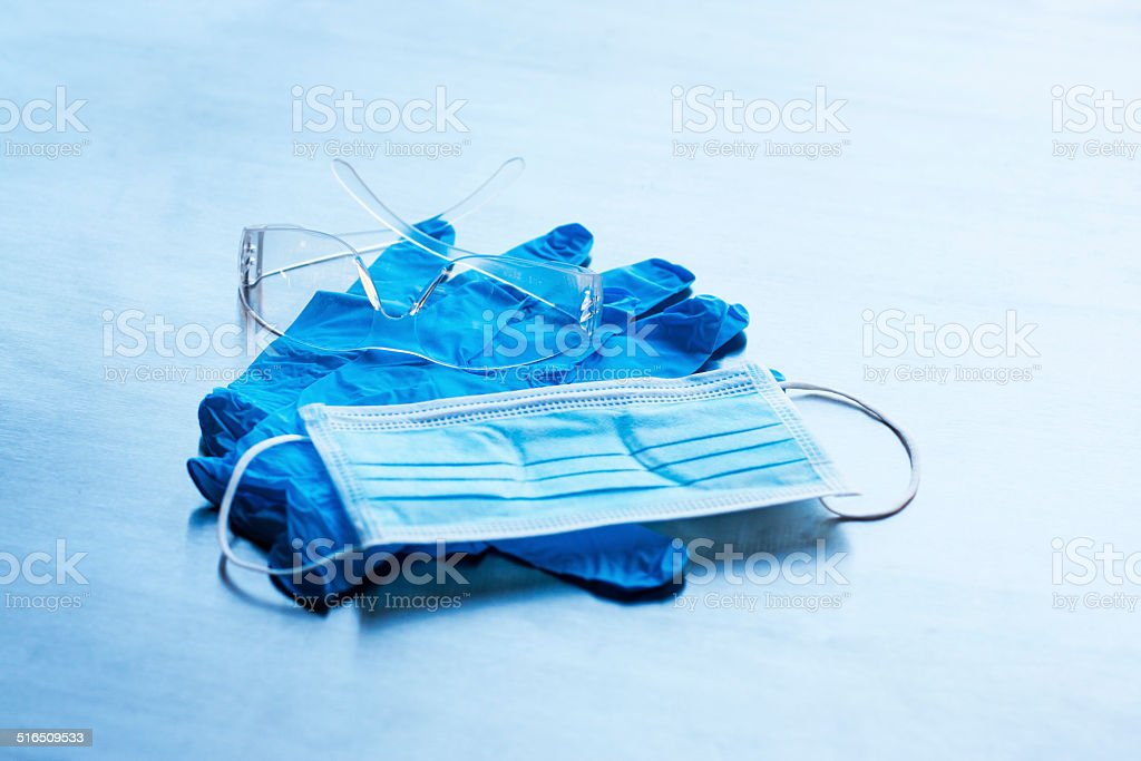 Contaigen Mask Gloves and Glasses stock photo