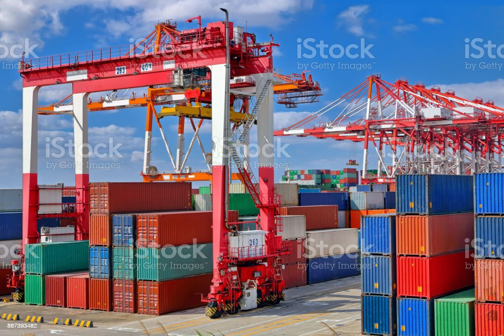 Container at container terminal stock photo