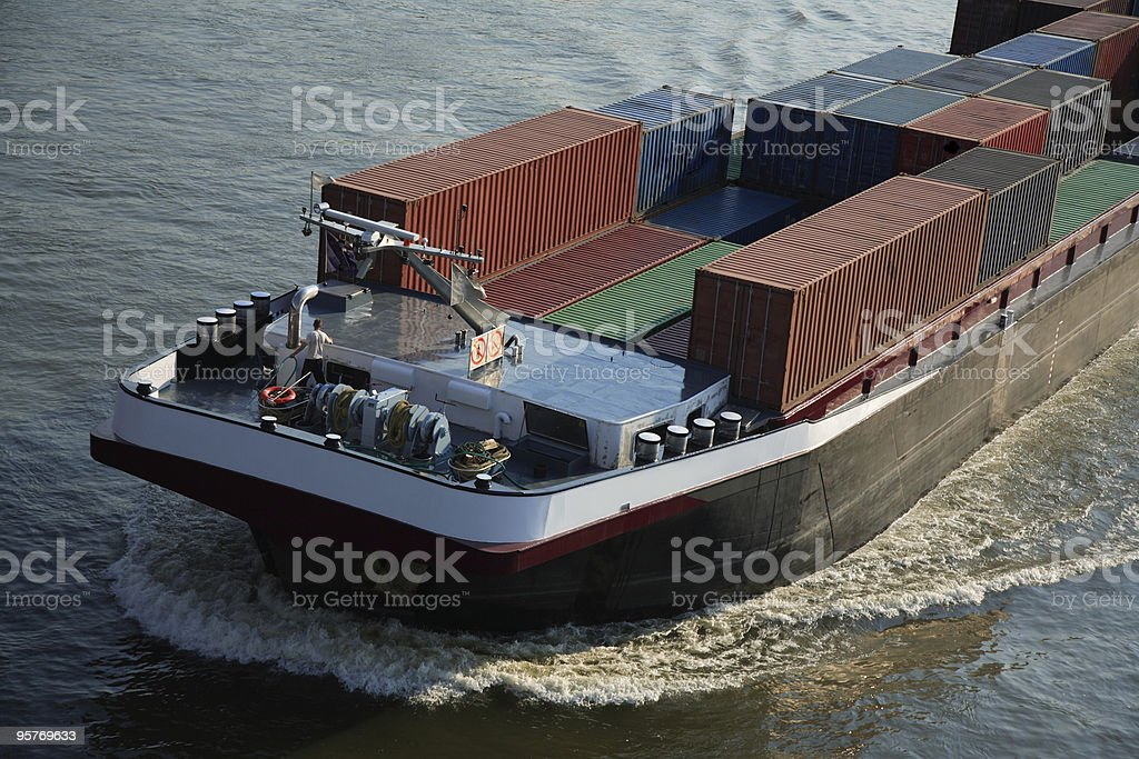 Container Barge on the River stock photo