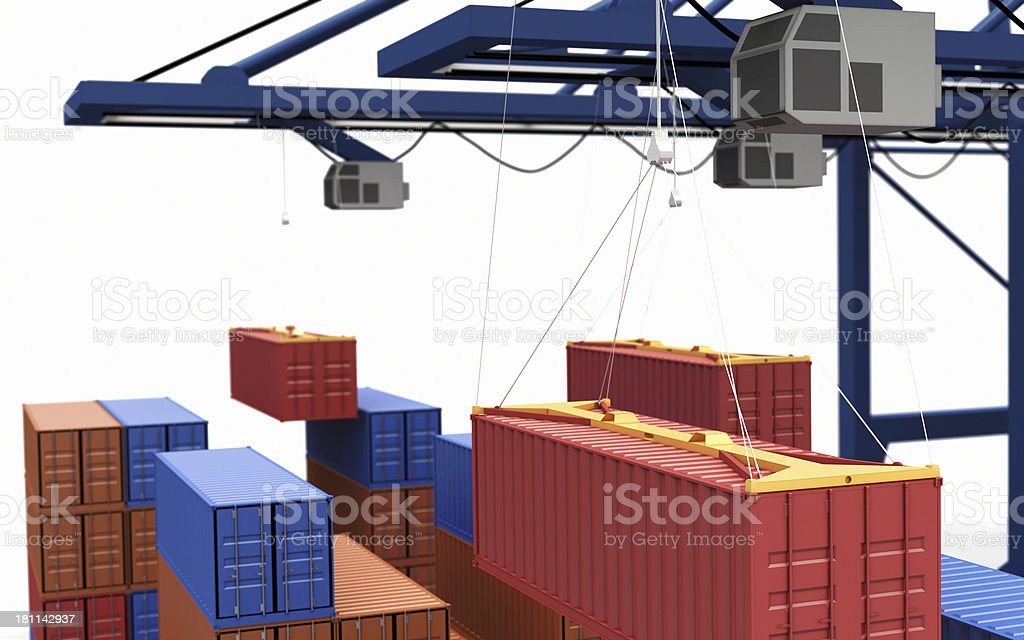 Container being lifted by a crane royalty-free stock photo