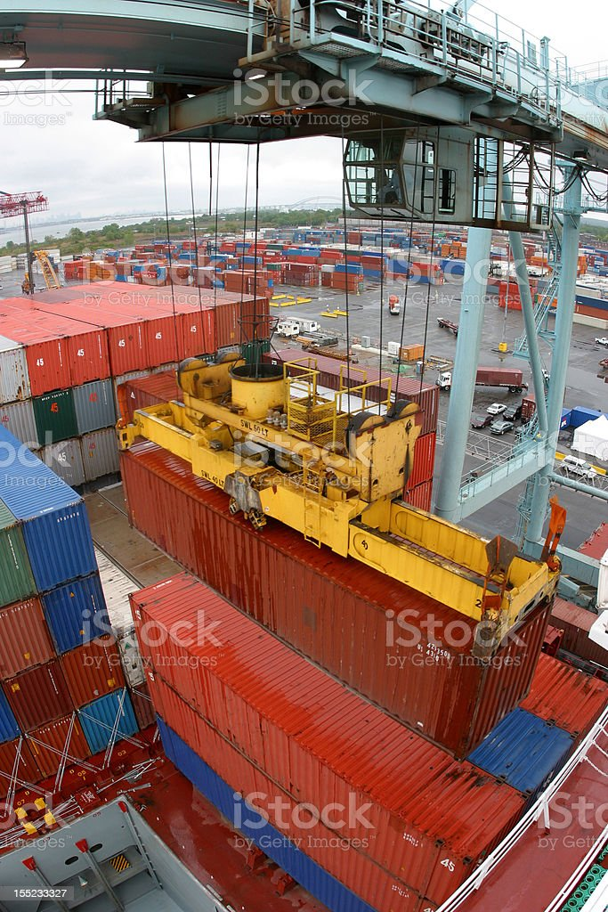 Container being loaded royalty-free stock photo